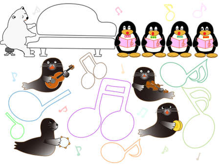 Showtime Aquarium animals. This is a concert of penguins, seals and dolphins. Illustration