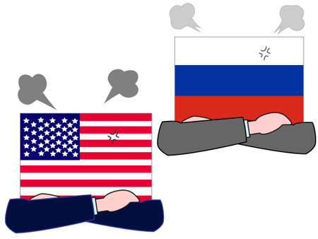 Represents the State of diplomacy with the country. The relationship between the United States and Russia. Banque d'images - 121641791