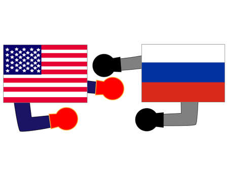 Represents the State of diplomacy with the country. The relationship between the United States and Russia. 写真素材 - 121641793