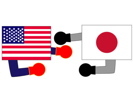 The foreign countries. Describing the relationship between the United States and Japan. Banque d'images - 121641794