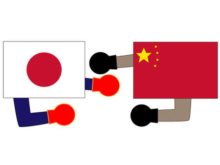 And the country's diplomacy. Represents a relationship between Japan and China 写真素材 - 121641797