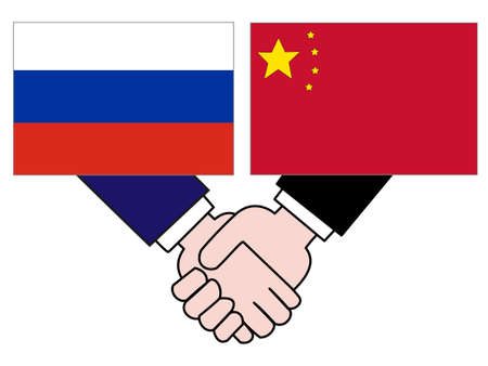 And the country's diplomacy. Represents a relationship between Russia and China. 写真素材 - 121642308