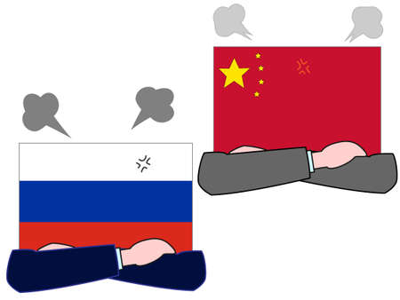 And the country's diplomacy. Represents a relationship between Russia and China. 写真素材 - 121642305