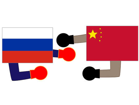 And the country's diplomacy. Represents a relationship between Russia and China. 写真素材 - 121642313