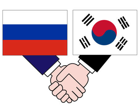And the country's diplomacy. Represents a relationship between Russia and Korea. 写真素材 - 121642315