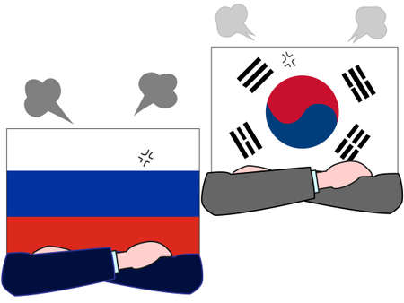 And the country's diplomacy. Represents a relationship between Russia and Korea. Illustration