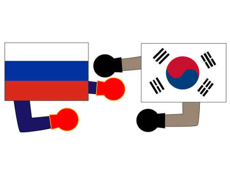 And the country's diplomacy. Represents a relationship between Russia and Korea. Banque d'images - 121642314