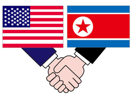 And the country's diplomacy. Represents a State of the United States and North Korea. Banque d'images - 121947057
