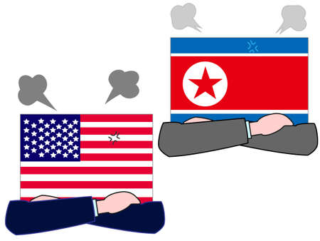 And the country's diplomacy. Represents a State of the United States and North Korea. Illustration
