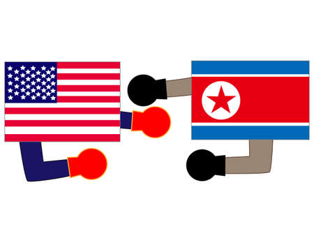 And the country's diplomacy. Represents a State of the United States and North Korea. Banque d'images - 121642316
