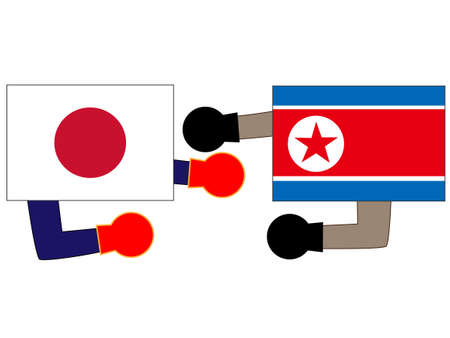 The relationship between Japan and North Korea. 写真素材 - 125102226