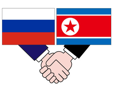 The relationship between Russia and North Korea.  イラスト・ベクター素材