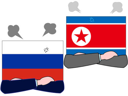 The relationship between Russia and North Korea. Illustration