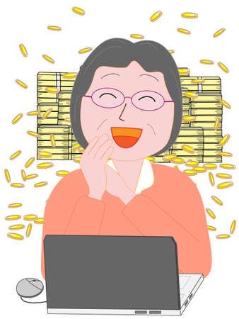 A woman who became rich by using a computer.  イラスト・ベクター素材