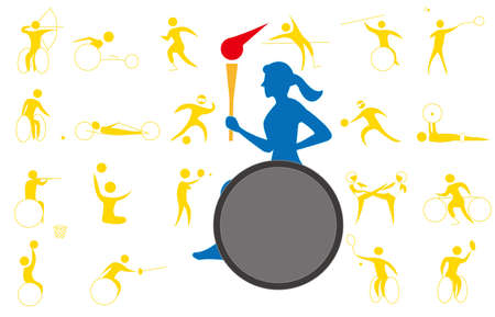 An icon set of the sport torch Runner and sports event.