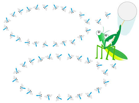The praying mantis is capturing the dragonfly. Illustration