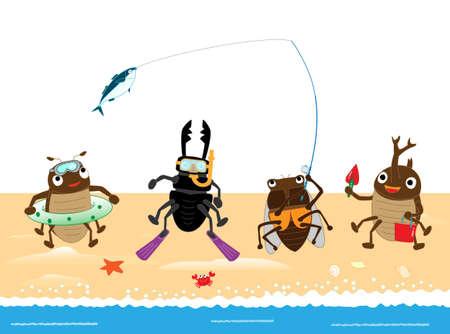The sea play of insects.  イラスト・ベクター素材