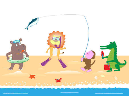 Animals playing in the sea.