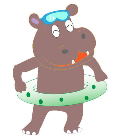 Animals playing in the sea. Hippo swimming.  イラスト・ベクター素材