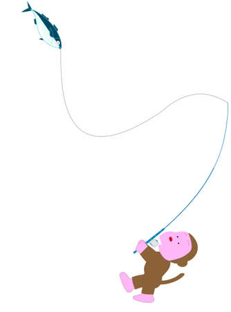 Animals playing in the sea. Fishing for monkeys.  イラスト・ベクター素材