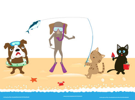 Pets playing in the sea. Background material for summer.  イラスト・ベクター素材