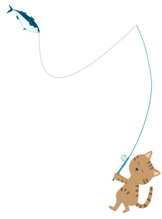 Fun fishing for cats. Stock Illustratie