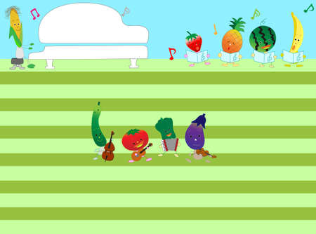The title frame of the music. Its a concert to celebrate the harvest of vegetables and fruits.