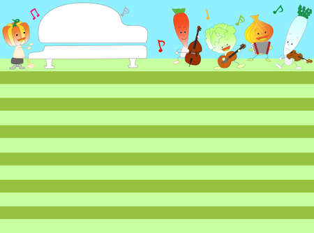 Title frame for agriculture. Vegetables and fruits are playing musical instruments to celebrate the harvest.