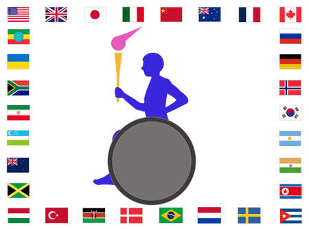 Torch runners relaying around the world.  イラスト・ベクター素材