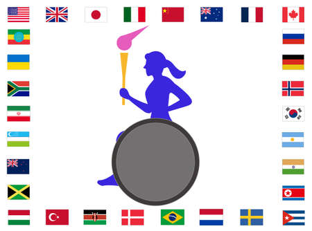 Torch runners relaying around the world  イラスト・ベクター素材