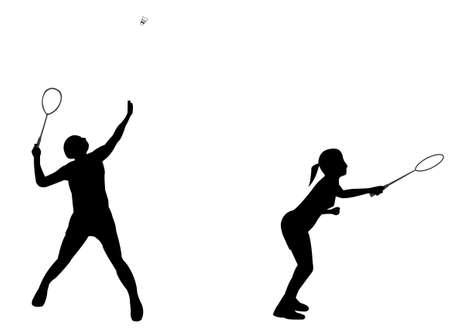 Badminton Doubles Silhouette