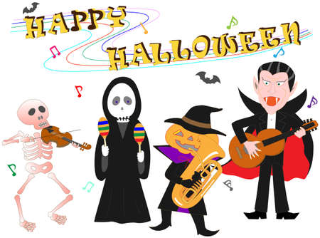 Characters playing musical instruments on Halloween day.
