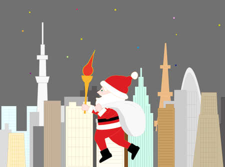 Santa Claus became the torch runner who went to tokyo city for Christmas