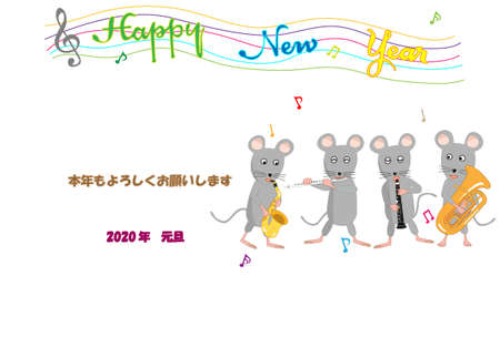 New Year's card template material for 2020. Rats are holding a New Year's celebration concert.