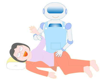 Care robots support changing clothes for the elderly. Illustration