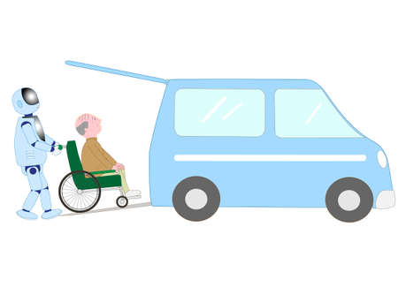 A robot with artificial intelligence is carrying elderly people in wheelchairs in welfare cars. Illustration