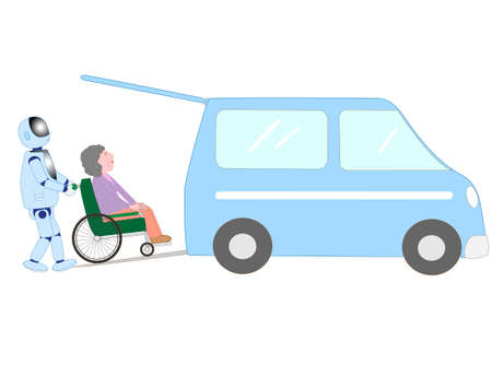 A robot with artificial intelligence is carrying elderly people in wheelchairs in welfare cars. Ilustrace