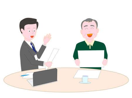 Salesman explaining to the elderly