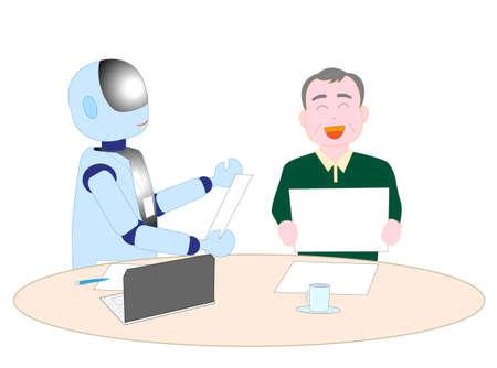 Roboter mit künstlicher Intelligenz, um älteren Menschen zu erklären Vektorgrafik