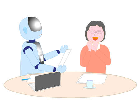 Robots with artificial intelligence to explain to the elderly Illustration