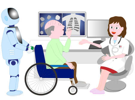 Elderly people in wheelchairs who receive assistance from a robot caregiver with artificial intelligence and examine the patient