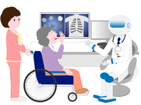Elderly people in wheelchairs examined by a robotic doctor with artificial intelligence Illustration