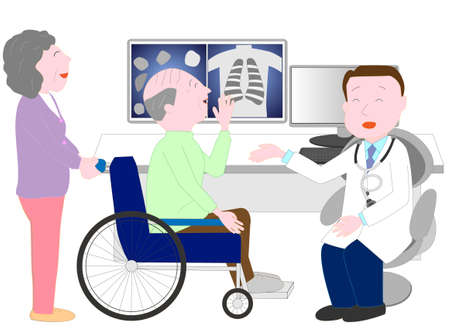The wife assisted the husband of the elderly person in the wheelchair and made it examined.