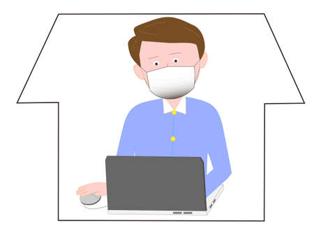 An office worker who works from home to prevent the virus from being infected.