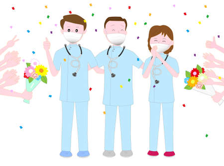 This illustration is thanks to the medical staff who are treating patients infected with the new coronavirus.  イラスト・ベクター素材