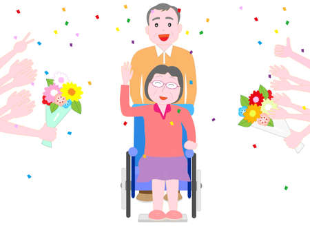 A bouquet of congratulations is presented to the elderly person in the wheelchair.  イラスト・ベクター素材