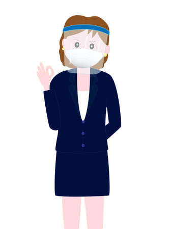 The pose of the businesswoman who wears the face shield in the infection prevention measures of the new coronavirus.