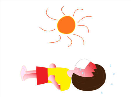 A child wearing a mask to prevent infection of the new corona virus has collapsed. Illustration