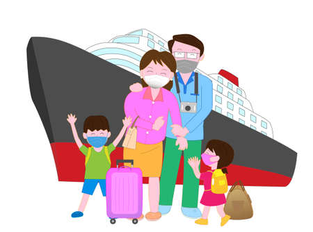 A family enjoys traveling while wearing a mask to prevent infection of the new coronavirus Vectores