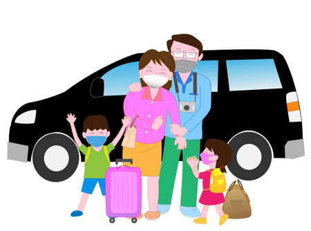 A family enjoying a trip wearing a mask to prevent infection of the new coronavirus Vectores